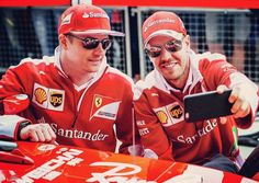 Nice shot of Sebastian Vettel taking a selfie with Kimi Raikkonen yesterday at Silverstone. #SebastianVettel #Vettel #SebVettel #SV5 #Seb5 #ForzaSeb #Ferrari #ScuderiaFerrari #ForzaFerrari #RedSeason #F12016 #F1 #Formula1 #prancinghorse #SF16