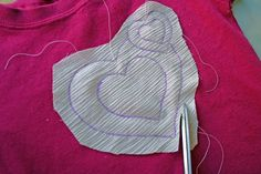 icandy handmade: (iCandy & tutorial) frayed cutout applique shirt for Valentines Day!  **USE BANDAGES**