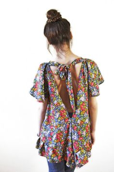 Colourful Open Back Blouse// Loose and baggy// SML by chrystalshop, €45.00