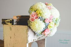 Football mums, blue hydrangea, pink roses, yellow stock, babies breath bridal bouquet by KC wedding florist j claire floral {photo by Jaime Krogman Photography}