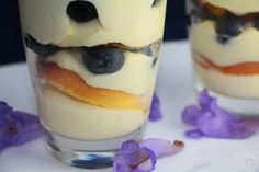 Deconstructed cupcakes with blueberries and cream