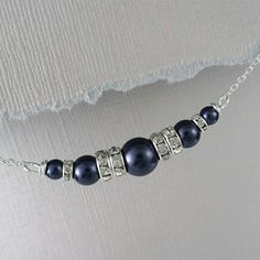 Navy Pearl Necklace, Dark Blue Wedding Necklace, Mother of the Groom Necklace, Mother of the Bride Necklace, Navy Wedding Jewelry