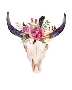 Cow Skull Printable Wall Art  Flower Crown - $5  click the photo to shop!