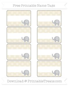 Free Eggshell Dotted Pattern  Elephant Name Tags