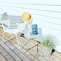 Chair from IKEA, table from HAY design, coffee pot from Kähler design, cup from iitala. Ikea Inspiration, Garden Furniture, Modern Furniture, Pergola, Hay Design, Outdoor Gardens, Terrace, Home Appliances, Chair