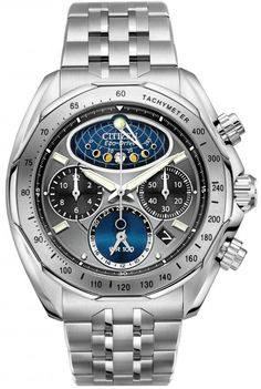 Citizen Signature Eco-Drive Flyback Moonphase Mens Watch AV3000-56H