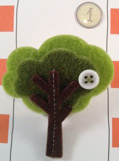 Fun Funky Tree pins made of felt, embellished with dainty buttons by RockinRobinsBling, $4.00