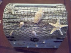 Possible wedding card holder Lg.Personalized and Netted Treasure Chest by ShellaciousGifts, $100.00