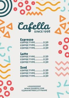 A colorful cafe menu with cute illustrations on the side and a light background. Create your own template in minutes. Menu Template, Templates, Colorful Cafe, Cafe Menu, Lights Background, Cute Illustration, Create Your Own, Restaurant, Illustrations