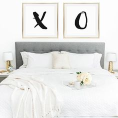 The perfect way to decorate above your bed! 'X and O' prints now available in…