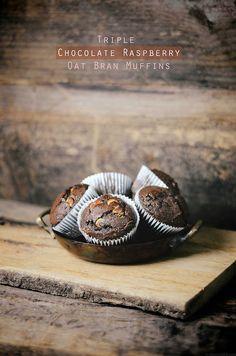triple chocOlate raspberry oat bran muffins