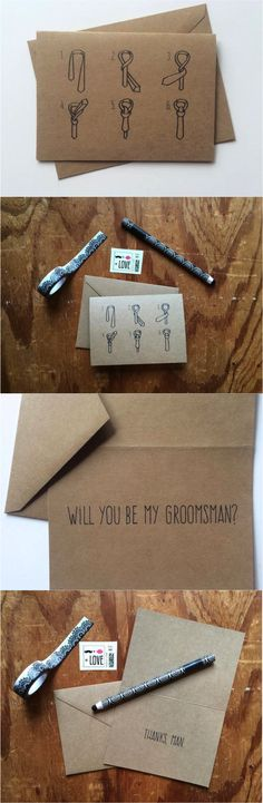 Help a brother out! Not only will these adorable groomsman cards ask them to be in your wedding party, but they'll also be instructive when the big day comes! | Made on Hatch.co by independent artists & designers