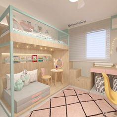 Rosa millennial: tudo sobre a cor do momento + 54 inspirações para você Cool Kids Bedrooms, Cute Bedroom Ideas, Room Ideas Bedroom, Cool Rooms, Bedroom Decor, Room Design Bedroom, Girl Bedroom Designs, Home Room Design, Dream Home Design