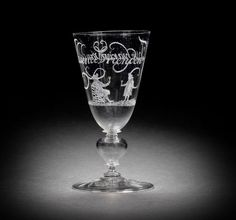 A fine Dutch diamond-point engraved façon de Venise 'Friendship' glass, possibly by Willem Mooleyser, dated 1682