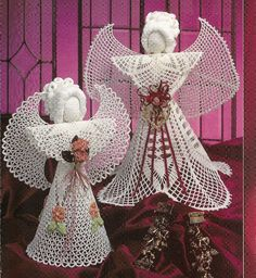 "Elegant Angels Thread Crochet Pattern Christmas Tree Topper Table Decoration 15"" and 16 1/2"" by PatternMania3 on Etsy"