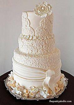 Striking White Wedding Cake