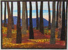 Art Quilt Autumn Sunrise 3 Landscape wall by ArtQuiltsBySharon