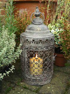 A fabulous Ornate Rustic Antique Style Moorish Lantern which looks really impressive when lit as the lattice work around the body of the lantern creates a wonderful pattern. Garden Candle Lanterns, Japanese Garden Lanterns, Lanterns Decor, Large Candle Holders, Candle Holder Decor, Lantern Candle Holders, Vintage Candle Holders, Moroccan Garden, Moroccan Decor