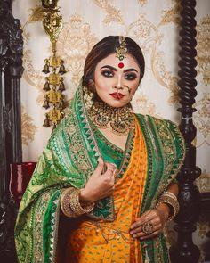 Indian Makeup Looks, Bridal Makeup Looks, Bengali Bridal Makeup, Indian Bridal Fashion, Hairstyles For Gowns, Indian Bridal Hairstyles, Indian Wedding Bride, Bengali Wedding, Bengali Bride
