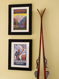Use old athletic equipment for seasonal decor in a family room