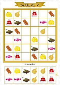 Sudoku logopedyczne 6x6. Głoski opozycyjne [cz] i [c]. Wersja kolorowa - Printoteka.pl Cute Coloring Pages, Maila, Homeschooling, Worksheets, Puzzle, Education, Special Education, Speech Language Therapy, Projects