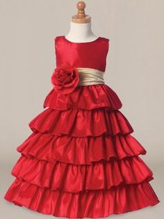 Colored Flower Girl Dresses_Cherry/Champagne