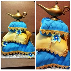Arabian Nights Sweet 16 Cake/ pillow Cake (different colors though) Aladdin Birthday Party, Aladdin Party, Aladdin Wedding, Arabian Party, Arabian Nights Party, Arabian Theme, Aladdin Cake, Baby Bump Cakes, Pillow Cakes