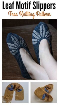Discover thousands of images about Leaf Motif Slippers Free Knitting Pattern Knitting Short Rows, Loom Knitting, Knitting Patterns Free, Free Knitting, Knitting Socks, Knitting Tutorials, Stitch Patterns, Knit Slippers Free Pattern, Crochet Slipper Pattern