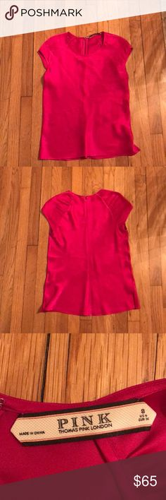 Thomas Pink - hot pink silk top - size 8 Hot pink short sleeved silk top! Perfect for work with pants or a skirt, or dress up your jeans with this fun color! This brand runs small - I️ am usually a 4/6 in tops. Thomas Pink Tops Blouses