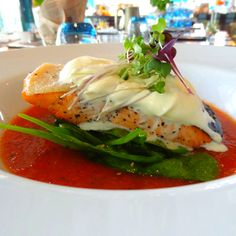 Salmon on gazpacho Daily Specials, Gazpacho, Caprese Salad, Salmon, Breakfast, Photos, Food, Morning Coffee, Eten