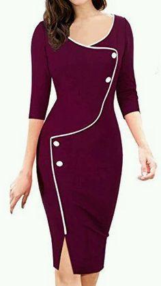 UVKKC Women Office Dress Brief Split Bottom Elegant Luxury Vestidos Sleeve O Neck Bodycon Knee Women Bodycon Pencil Dress Office Dresses, Dresses For Work, Jw Mode, Body Con Dress, Elegantes Outfit, Work Attire, Work Casual, Casual Office, Dressy Outfits