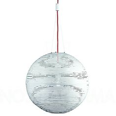 Terzani Magdalena Pendant Painted white finish, featuring a red power cord. Only used as showroom display*  Dimensions: 27″ diameter  Retail: $4,550  Modern Resale: $1,600