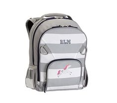 Small Backpack, Fairfax Stripe Gray/White with Navy Trim Unicorn