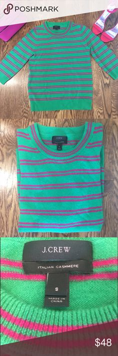 J.Crew Light 3/4 Sleeve Italian Cashmere Sweater So beautiful and soft, this J.CREW sweater with brightly colored stripes is so comfortable and lends a hint of fun, as well as sophistication to any outfit. You can dress it up with jewelry and heels or my fav, just toss it on with jeans for a more casual and fun look!  This is the most year round sweater I've ever owned. Size Small no longer works for me so this is in excellent condition!  Worn once. See pic 4 for the clearance price of a…