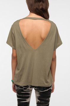 Truly Madly Deeply Open V-Back Tee See some ribbon across the opening in a design or add lace to the opening.