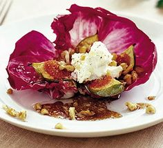 Baked fig and goats cheese - A fresh, seasonal starter that's simple to make and looks pretty on the plate Smoked Salmon Salad, Bbc Good Food Recipes, Fig Recipes, Appetizer Recipes, Appetizers, Goat Cheese, Food Hacks, Radicchio Recipe, Food And Drink