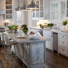 Farmhouse Old French Country Kitchen | An island in the kitchen can be an indulgence but it's also a ...