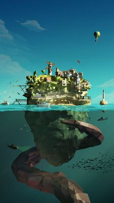 """The Island - Low Poly I am uncertain if this is a painting or 3D model render. Either way, the boxy, pixelated look (also known as the """"low poly"""") contributes to the feel of this environment. The artist implemented an interesting contrast in universe between the island and below the sea. This is made successful by the high saturation on top verses the lower saturation below."""