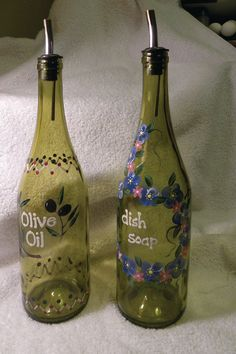 Don't trash your empty wine bottles, use them for everyday liquids! Also a great gift idea!