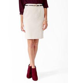 Micro-Ribbed Skirt w/ Belt | FOREVER21 - 2027704980