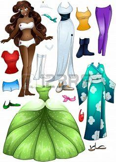 Une illustration de vecteur d'une jeune fille modèle costume et accessoires africain habiller paquet Banque d'images - 25502754