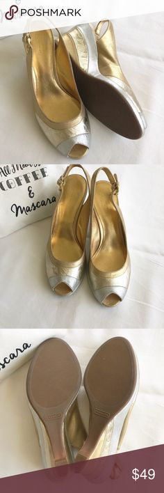 """Coach Patchwork Wedges Coach """"Abrianna"""" patchwork wedges in gold and silver.  Minor wear on heals and straps but excellent condition otherwise. Leather upper.  Actual colors may vary from photos  ❌no trades ✔️Poshmark only Coach Shoes Wedges"""