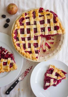 A fresh summer dessert, this sassy blackberry-pluot fruit pie is deep red. A kiss of vanilla brings warmth to the party. Perfect served with whipped cream.