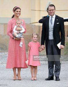 Crown Princess Victoria of Sweden and Prince Daniel of Sweden, with their children Prince Oscar and Princess Estelle of Sweden attend the christening of Prince Alexander of Sweden at Drottningholm Palace Chapel on September 9, 2016 in Stockholm, Sweden.