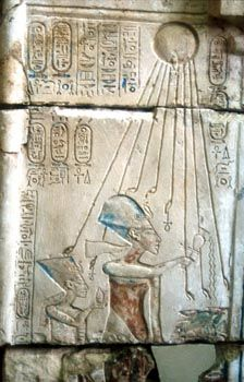 Aten was the sun-disk, the body in which the essence of the divine being was made visible. He rose to prominence in the reign of Amenhotep IV, who thought of himself as the embodiment of Aten. The king changed his  name from Amenhotep ('Amun-is-satisfied') to  Akhenaten ('Glorified-Spirit-of-the-Aten'), and   designed an iconography in which Aten was depicted as a sun-disk with rays ending in hands.    Akhenaten and his wife, Nefertiti, created a new city, Amarna (Horizon-of-Aten).