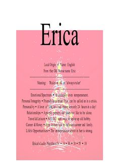 pictures of the name erica | erika or erica is a feminine given name the name erica is old norse ...