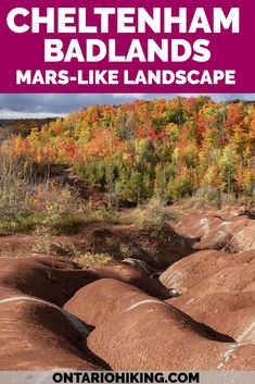 The Cheltenham Badlands is one of the most amazing landscapes in Ontario that looks like Mars! Visit the red rock hills of Caledon, Ontario. It's one of the most iconic hikes in Ontario near Mississauga and Toronto. Ontario Badlands   Places to visit in Ontario   Ontario nature   Badlands Ontario   Cheltenham Badlands Ontario   Cheltenham Badlands Caledon   Best hikes in Ontario   Fall hikes Ontario Canada Destinations, Amazing Destinations, Travel Usa, Travel Tips, Travel Goals, Travel Guides, Travel Essentials, Cheltenham Badlands, Vancouver Travel