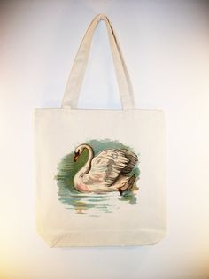 Vintage Swan illustration on 15x15 Canvas Tote  by Whimsybags, $12.00