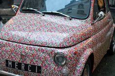 liberty print car at Merci, Paris Fiat 500, American Graffiti, Harrison Ford, Merci Paris, Automobile, Flower Car, Liberty Print, Cute Cars, Car Painting