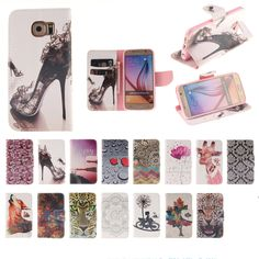 For samsung galaxy s6 edge plus case Retail personality Colorful graphics PU Leather Flip Wallet phone bags cases cover
